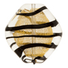 Black and Gold Foil Tigrato Diamond 34mm Murano Glass