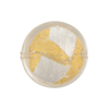 Vicenza Murano Glass Disc Bead, Clear w/Gold & Silver Foil, 21mm