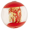 Murano Glass Window Bead, Red & Gold Foil, Round 16mm