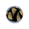 Murano Glass Bead Blue Black Scribbles 24kt Gold Foil Coin 20mm