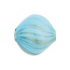 Murano Glass Blown Bead, 20mm Diamond, Double Layer Aqua over Ivory