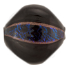 Murano Glass Bead Blown Pebble 30mm Black with Purple Dichroic Stripe