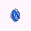 Mini Blown Murano Glass Cippolina Bead, Aqua and Blue w/Aventurina, 15mm