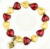 Red n Gold Heart Stretch Bracelet Kit 6.5 Inch