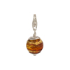 Topaz and Exterior Gold Foil Murano Glass Bead Silver Charm with Trigger Clasp