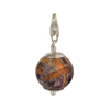 Topaz and Blue Paisley Murano Glass Bead Silver Charm with Trigger Clasp