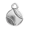 TierraCast Baseball Charm, Antique Fine Silver Plated Pewter