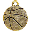 Basketball Charm, Antique Gold Plated Pewter