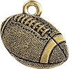 TierraCast Football Charm, Antique Gold Plated Pewter