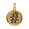 TierraCast Hashtag # Charm, Antique Gold Plated Pewter