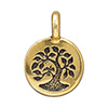 TierraCast Small Tree with Bird Charm, Antique Gold Plated Pewter