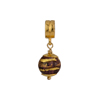 PerlaVita Amethyst and Exterior Gold Foil Murano Glass Bead Charm, Vermeil