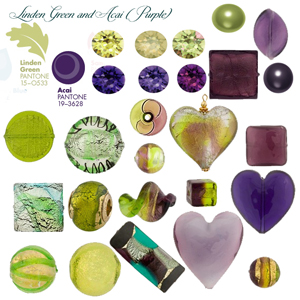 Linden Green and Acai Green and Purple Colors for Fall Pantone