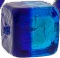 Murano Glass Bead Cube Bicolor Cobalt and Aqua