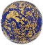Murano Glass Lentil Lapis Blue with Broken 24kt Gold Foil