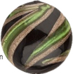 Emerald, Black and Aventurina Murano Glass Bead