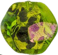 Emerald and Dichroic Murano Glass Bead Pebble