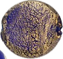 Cobalt and 24kt Gold Foil Cracked Gold Disc