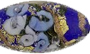 Cobalt Bed of Roses Oval Murano Glass Bead