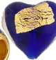 Tosca Cobalt Heart Murano Glass and 24kt Gold Foil