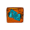 Topaz/Aqua Abstract Cube 10mm Silver Foil, Murano Glass Bead