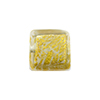 Clear 24kt Gold Foil Ca'd'Oro Cube 14mm Murano Glass Bead