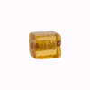 Murano Glass Bead Gold Foil Cube 10x12mm, Amber