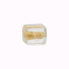 Murano Glass Bead Gold Foil Cube 10x12mm, Clear Gold