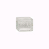 Murano Glass Bead Silver Foil Cubes 10x12mm Clear Silver