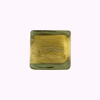 Murano Glass Bead Gold Foil Cube 14mm Light Olivine