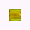 Murano Glass Bead Gold Foil Cube 14mm Peridot