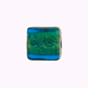 Murano Glass Bead Gold Foil Cube 14mm Aqua