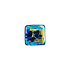 Aqua Gold, Silver with Blue Aventurina Luna Cube 10mm, Venetian Glass Bead