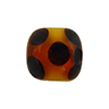 Topaz White Multi Dots Cube 15mm Lampwork Murano Glass Beads