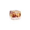 Red and Gold Foil ZigZag Cube 10x12mm Murano Glass Bead