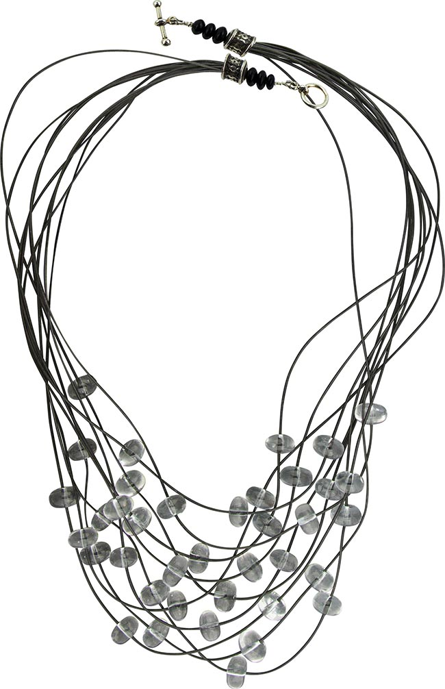 Black and Clear Murano Glass Rondel 10 Strand Necklace