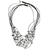 Black and Clear Rondel 10 Strand Murano Glass Necklace