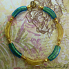 Aqua and Gold Foil Curved Tube Venetian Necklace
