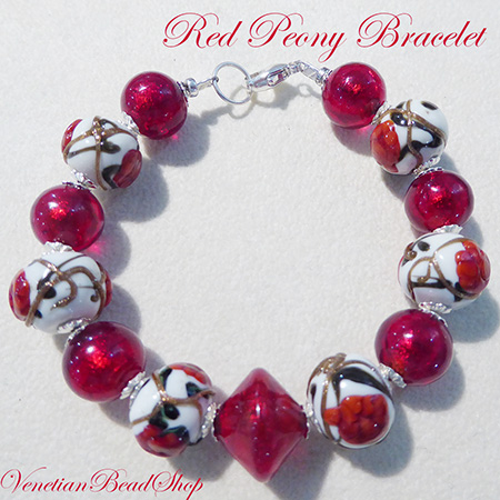 Free Design Idea Red Peony Bracelet