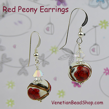 Red Peony Earrings with Sterling Silver Ear Wires