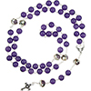 Murano Glass Bead Rosary, Maryann, Violet, Purple with Silver Plated Cross