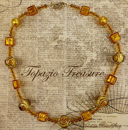 Free Design Instructions Venetian Glass Topaz Necklace