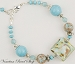 Murano Glass Bracelet, Aqua with 24kt Gold Foil 7.5 Inches with Extender