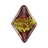 Amethyst Diamond Luna, Gold & Silver Foil,24x18mm, Murano Glass Bead