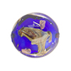 Murano Glass Bead, Base Cobalt with Aventurina and Calcedonia Disc 23mm