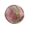 Murano Glass Bead, Base Plum Purple with Aventurina and Calcedonia Disc 23mm