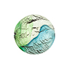 Murano Glass Bead White Gold Foil, Aqua, Green Disc 20mm Machiavelli Line