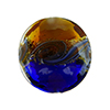 Topaz and Cobalt with Aventurina and 24kt Gold Foil Mare Disc 20mm Murano Glass Bead