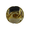 Black and White with Aventurina and 24kt Gold Foil Mare Disc 20mm Murano Glass Bead