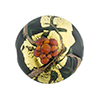 Murano Glass Bead Peony Lampwork Disc 23mm Black and Red with 24kt Gold Foil